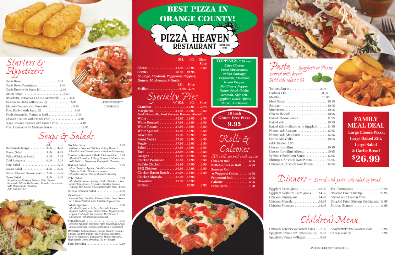 Pizza Heaven Menu