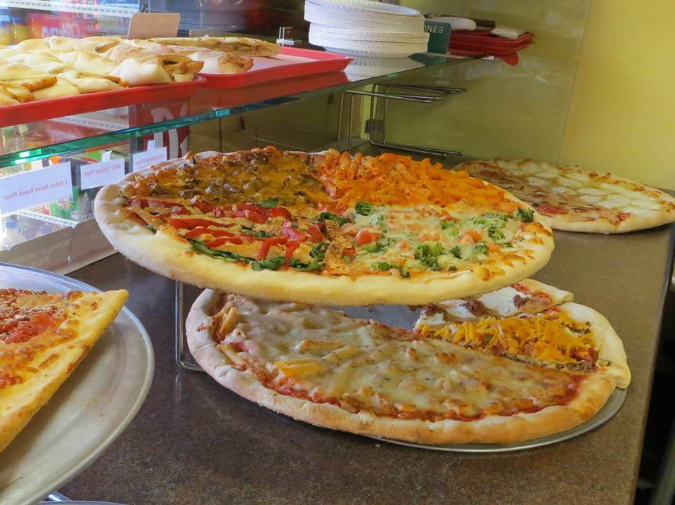 Brick oven pizzas, Specialty pizzas, Giant slices